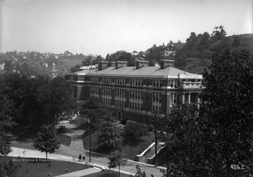 View of Oglebay Hall from Martin Hall during the summer.