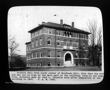 """Science Hall from south corner of Woodburn Hall. Note that the north end was not as high as the main part of the building. From an old negative, probably made by John L. Johnston soon after completion of the building in 1893. F. A. M. 1940."""