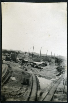 View of factories taken from the bridge. Nitro, W. Va. was created during WWI in 1917 to produce gunpowder for the war effort.