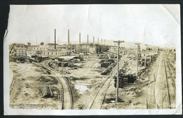 View of the factories and railroad in Nitro, W. Va. Nitro was created during WWI in 1917 to produce gunpowder for the war effort.