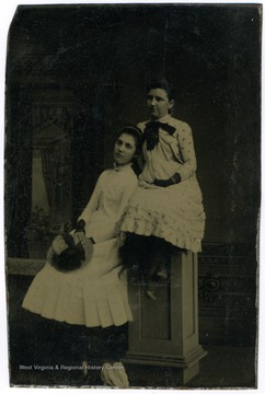 Portrait of Sadie West and Nancy Lauck from a from a photograph album of late nineteenth century images featuring residents from Keyser, W. Va.