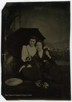 Portrait of Nancy Lauck and Katie Fitzer from a photograph album of late nineteenth century images featuring residents of Keyser, W. Va.