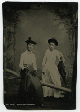 Portrait of Sadie West and Nancy Lauck from a photograph album of late nineteenth century images featuring residents of Keyser, W. Va.