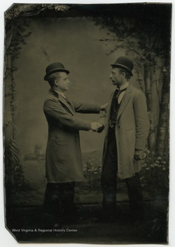 Portrait of Howard Wells and Frank Reynolds from a photograph album of late nineteenth century images featuring residents of Keyser, W. Va.