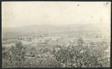 View of the town and factories in Nitro. Nitro was created during WWI in 1917 to produce gunpowder for the war effort.