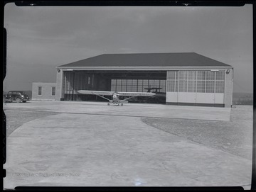 An airplane at the hanger of the Morgantown Airport, Morgantown, W. Va.