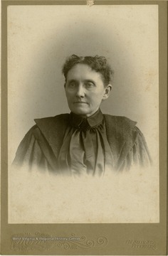 Portrait of Sarah Woodcock from a photograph album of late nineteenth century images featuring residents from Keyser, W. Va.