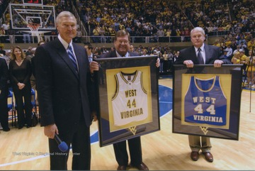 West's jersey number 44 was officially retired prior to the Mountaineers' basketball game against LSU.