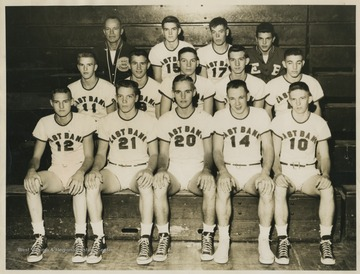 Front row, from left to right: Jerry West, Robert Green, Jim Dolen, Rodney Buckley, and Jack Ellis.Second row, from left to right: Jack Landers, Larry Moore, Robert Buckley, Ronald Fisher, and Joe Chrest.Third row, from left to right: Coach Roy E. Williams, Lincoln Lincous, Garry Stover, and team manager Bill Molner.West was the team's starting small forward. He was named All-State from 1953–56, then All-American in 1956 when he was West Virginia Player of the Year, becoming the state's first high-school player to score more than 900 points in a season.