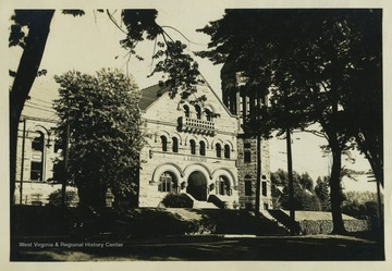 "View of the ""Old Library"" at West Virginia University, Morgantown W. Va. This building is currently named Stewart Hall. It housed the university library until 1931 and later housed administration offices."