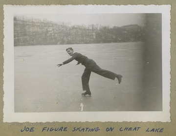 Joe Cochrane is pictured skating on a frozen Cheat Lake during the winter.