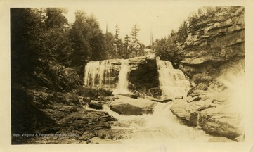 This image is part of the Thompson Family of Canaan Valley Collection. The Thompson family played a large role in the timber industry of Tucker County during the 1800s, and later prospered in the region as farmers, business owners, and prominent members of the Canaan Valley community.Scenic view of Blackwater Falls.
