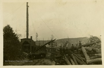 The overhead, or cableway skidder, used several different cables raised at both ends, from the skidder to trees above the loading area, and allowed loggers to raise log loads above ground obstructions in order to move them.This image is part of the Thompson Family of Canaan Valley Collection. The Thompson family played a large role in the timber industry of Tucker County during the 1800s, and later prospered in the region as farmers, business owners, and prominent members of the Canaan Valley community.