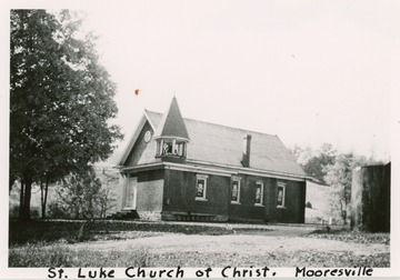 The date the church was organized is unknown, but likely between 1860 and 1870.  A frame church was built in 1890 but destroyed by fire in 1913.  The name then changed to St. Luke Christian Church and a new building was erected in 1918.