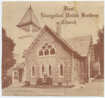 The photo of the church was printed on the front page of the morning worship service pamphlet, where on the back serves as an itinerary and hymnal guide.The church was established prior to August of 1855. By the 1960's, it held the largest congregation in all of Berkeley Springs.