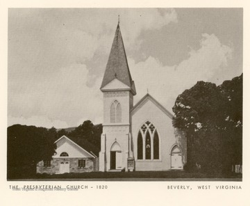 Presbyterianism began in the Tygarts Valley in what is now the town of Beverly in 1753.  The church was first organized as an independent church in 1820.  In 1853 the first Presbyterian Church was built in Beverly.