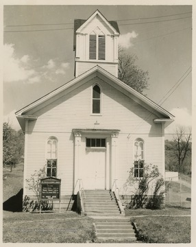 The church was first built in 1857 as a log building. The church moved in 1884 and a new building was built by the community.