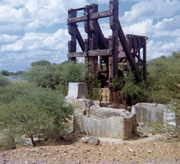 The crumbling headgear of Monarch Mine. Said by many to be the oldest mine in the Tati district, Botswana, Africa.