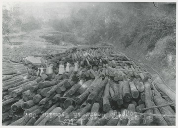 A group of men and women stand on a pile of lumber next to the Guyandotte River.  A wooden railroad track is to the right.