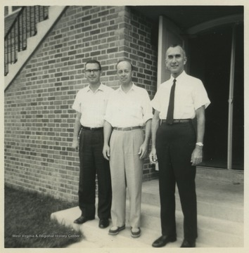 Leonard Warren of Los Angelos, Ca. (left), Captain John Lunger of Williamsburg, Va. (center) and Harold Miller (right) are pictured outside of the university building. Miller was a life-long school teacher at Terra Alta High School. He served in both World War II and the Korean War.