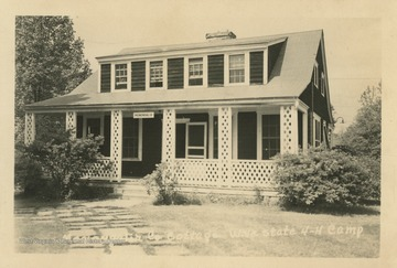 Photo postcard of the Monongalia cottage at the state 4-H camp in Weston.  See original for inscription.