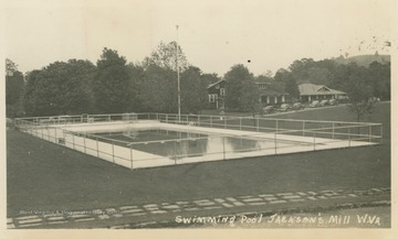Photo postcard of a swimming pool at the state 4-H camp in Jackson's Mill, W. Va.