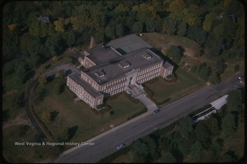 An aerial view of the high school building.