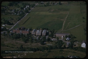 Aerial view of what is now the site of the WVU Medical Center.