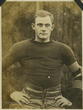 "A West Virginia University football player identified as ""Latterner"" is pictured in his practice gear."