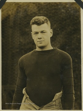 "A West Virginia University football player identified as ""Webster"" is pictured in his practice gear."