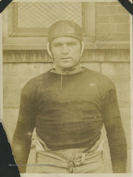 "Joe Harrick ('21) played as a tackle for the West Virginia University Mountaineers and was described as one of the ""greatest linesmen that ever wore the Old Gold and Blue"" in the 1919 Monticola yearbook."