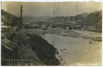 View of the dam's construction site from the banks.