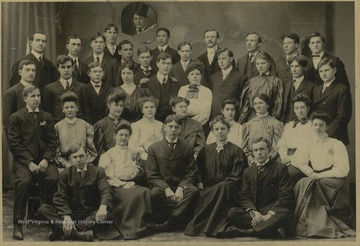 Music students at WVU pose together for a class photo. Olive Cordelia Knotts Cox is pictured in the third row, fourth from the left.