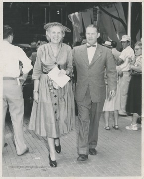 Mrs. White, wife of the Baltimore & Ohio Railroad Company president, is pictured with an unidentified man during the centennial event.