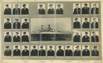 Portraits of the men in the U.S.S. West Virginia's S Division, which handled supply, disbursing, and commissary.  All photos are identified with last name and first initials.  Several of the men are also identified by nickname.  William Hand is at bottom center.