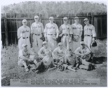 "In the front row, from left to right, are Dove Hunohrey, Wallace Craft, Leon Jarvis, and Cris Thompson.Standing, from left to right, are William Craft, Pete Radzue, Eddie Jarvis, Theodore Dixon, Buss Royer, and Virgil Dillon.The ""bat-boys"" in the forefront of the photograph are Dyke Janeski and Edgar Foster."