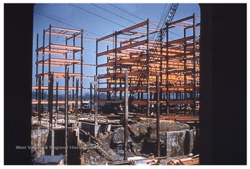 Steel framing and foundtation of the future West Virginia University Medical Center