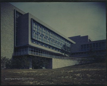 Photograph of the WVU Medical Center building, Basic Sciences Department.