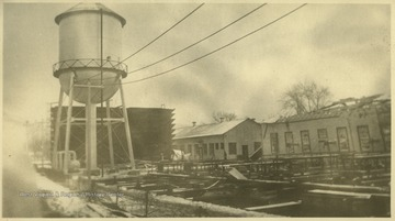 "View of the wreckage at the natural gas station. The explosion occurred on Thanksgiving Day that year. The station, originally proposed to be named ""Boston-on-Kanawha,"" was, at the time, supposedly the world's largest carbon black factories."
