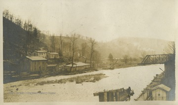 The Cherry River is a tributary of the Gauley River.This photograph is found in a scrapbook documenting the survey for the Baltimore and Ohio Railroad in West Virginia and surrounding states.
