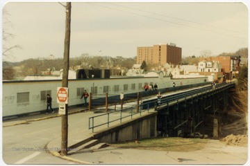 Stadium Bridge, now University Avenue, at the northwest side of the old Mountaineer Field.
