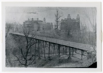 A view of the Beverly Avenue Viaduct, also known as the Falling Run Bridge, looking toward the WVU campus. Beverly Avenue is now known as University Avenue.