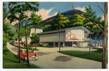 "Postcard reads: ""A Modern Rustic 55 room Lodge blended into the historic and romantic setting of the ""Old Mont"" just seven miles from Morgantown and the West Virginia University campus. Reasonable rates, dining room, swimming, horseback riding, boating, hiking, skiing, hunting and fishing."""