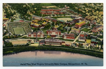 """Aerial View West Virginia University Main Campus, Morgantown, W. Va. consisting of 47 buildings with the Monongahela River in foreground."""