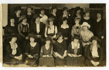 """Some of the hats made in the millinery class of Farmers' Week, January 1922."""