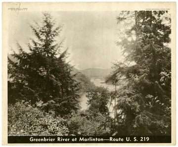 A bird's eye view looking down over the Greenbrier River toward Marlinton, W. Va.