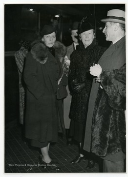 Nobel Prize winner Pearl Buck, her husband Richard Walsh and Buck's Danish publisher Halfdan Jespersen in Copenhagen, Denmark.