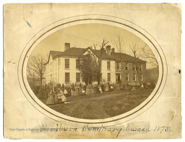 Students outside the Woodburn Seminary, a school for girls in Morgantown, W. Va.