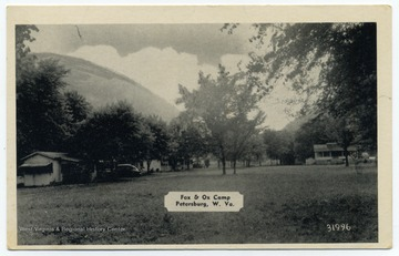 "Text on the back reads, ""Fox and Ox Camp. Good fishing - swimming - home cooking. On U. S. 220, 2 miles north of Petersburg, W. Va."""