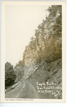 Eagle Rocks is located 1/4 mile from Petersburg, W. Va., on Route 28.